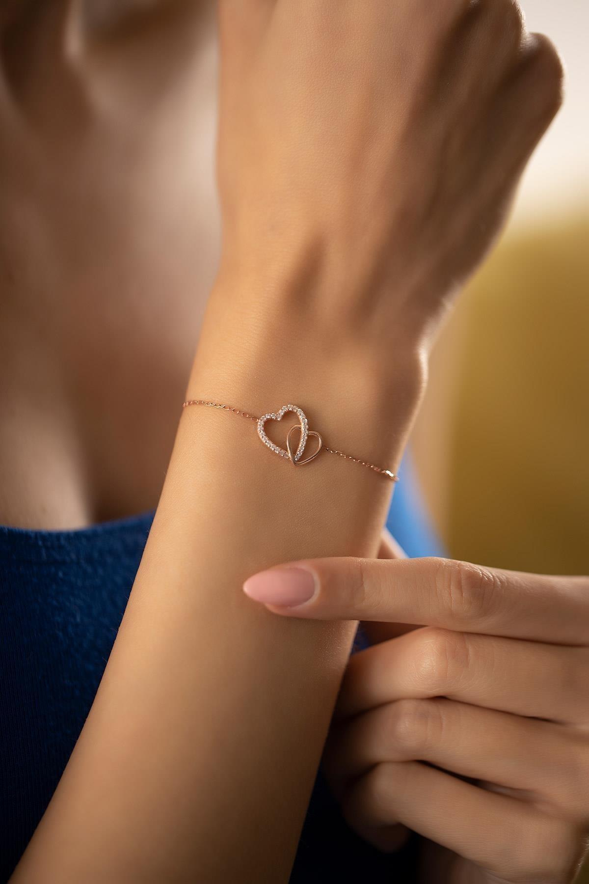 İzla Design Kadın Çift Kalp Model Zirkon Taşlı Rose Kaplama Gümüş Bileklik PKT-TLYSLVR0932 2