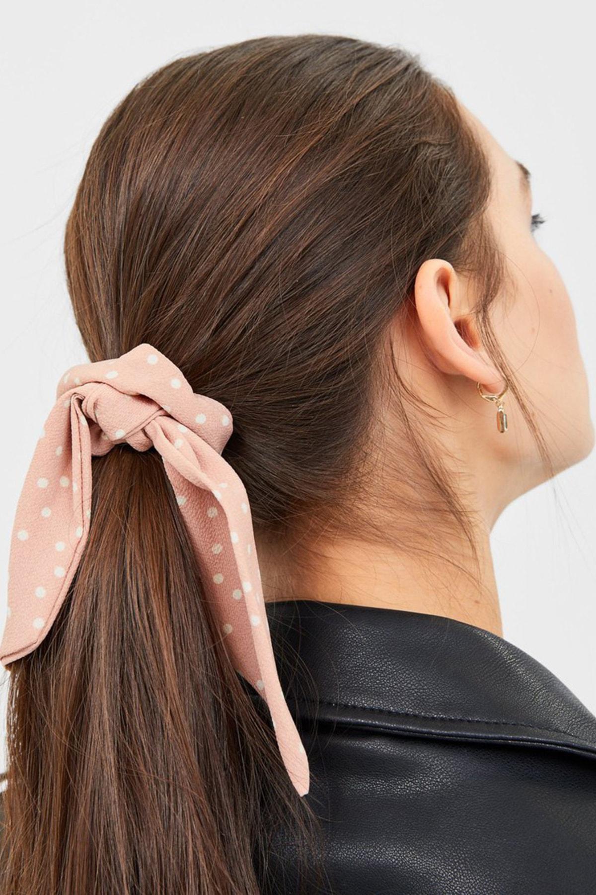 Stradivarius Kadın Siyah 3'Lü Puantiye Desenli, Fiyonklu Saç Lastiği Paketi 00220009 2