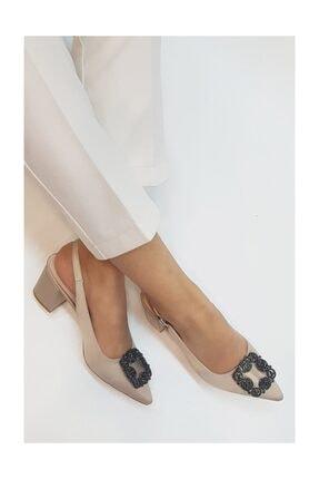 sothe shoes Bej Saten Bayan Tokalı Topuklu Ayakkabı Stiletto Kalın Kısa Topuk Kadın Ayakkabı 0