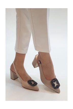 sothe shoes Bej Saten Bayan Tokalı Topuklu Ayakkabı Stiletto Kalın Kısa Topuk Kadın Ayakkabı 1