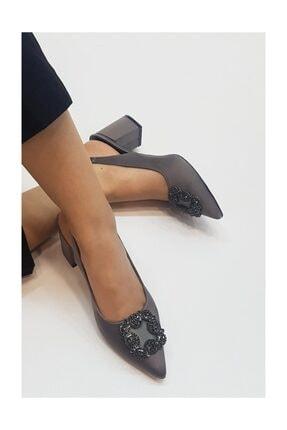 sothe shoes Gri Saten Kadın Tokalı Topuklu Ayakkabı Stiletto Kalın Kısa Topuk Kadın Ayakkabı 1