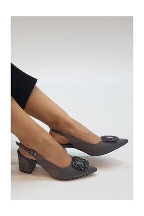 sothe shoes Gri Saten Kadın Tokalı Topuklu Ayakkabı Stiletto Kalın Kısa Topuk Kadın Ayakkabı 2