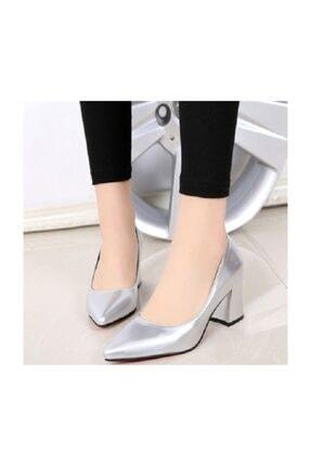 sothe shoes Kadın Gümüş Mat Topuklu Ayakkabı 0