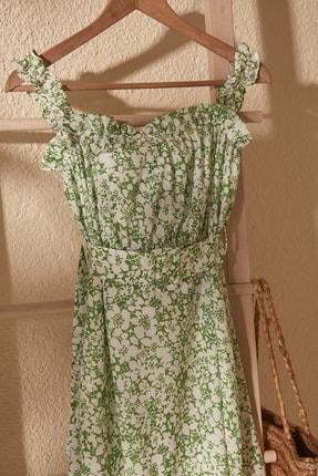 TRENDYOLMİLLA Yeşil Kemerli Büzgü Detaylı Desenli Elbise TWOSS20EL2260 2