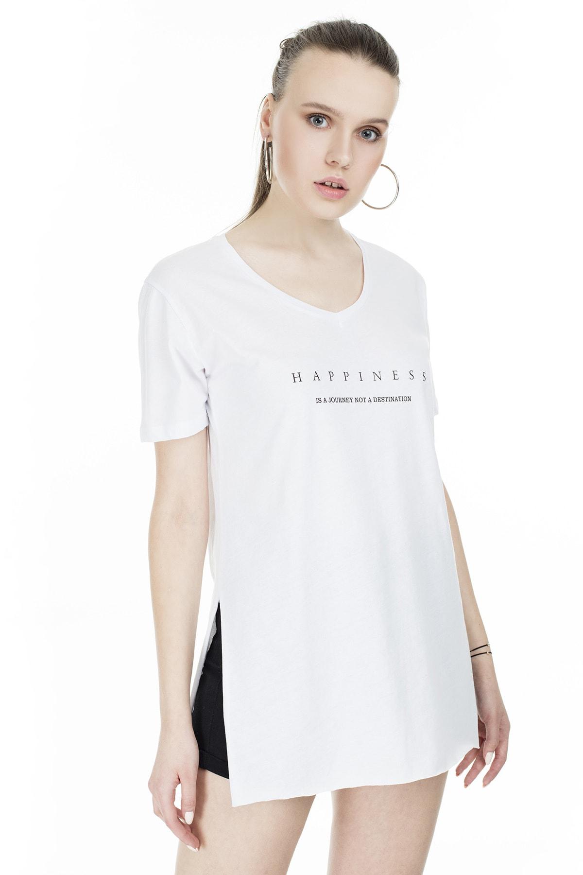 Lela Yırtmaç Detaylı V Yaka T Shirt KADIN T SHİRT 5411062H 2