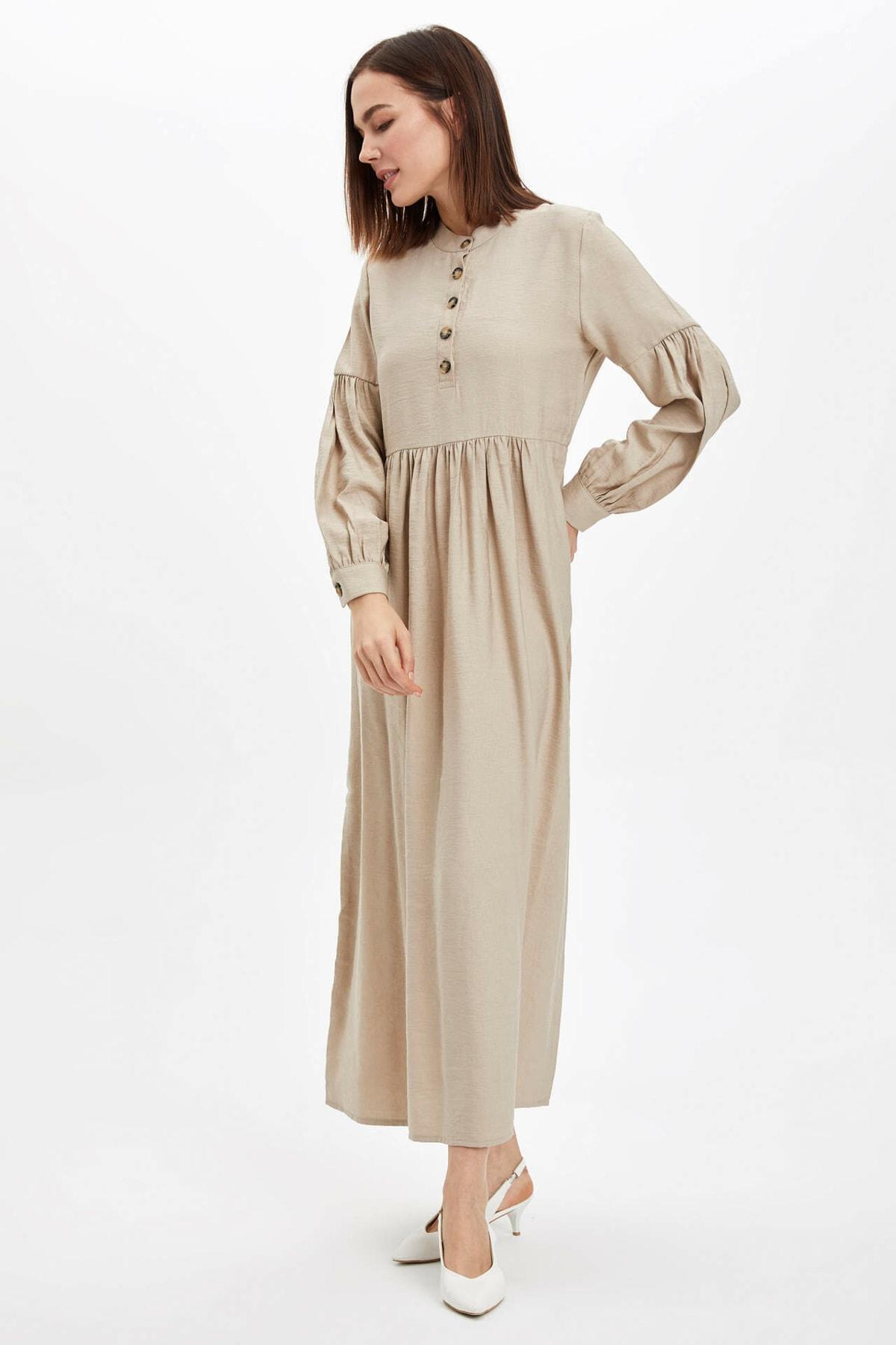 Düğme Detaylı Dokuma Elbise