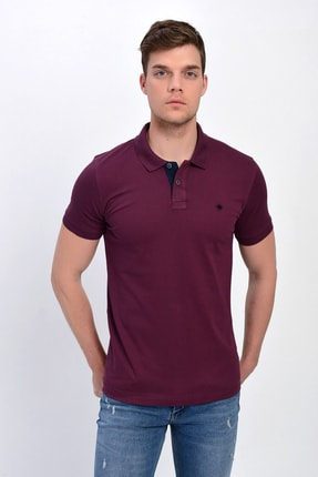 Dynamo Erkek Mürdüm Polo Yaka Likralı T-shirt T621 1