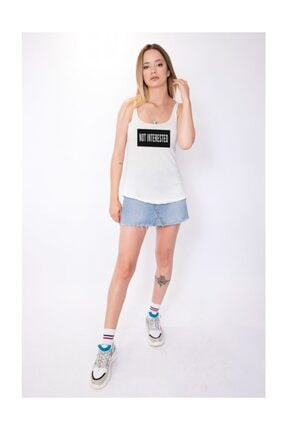 Angemiel Wear Not Interested Pamuklu Beyaz Kadın Askılı Bluz Atlet 1