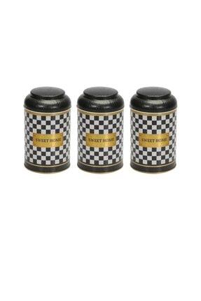 Evle Checkers Black Üçlü Metal Saklama Kabı Seti 0