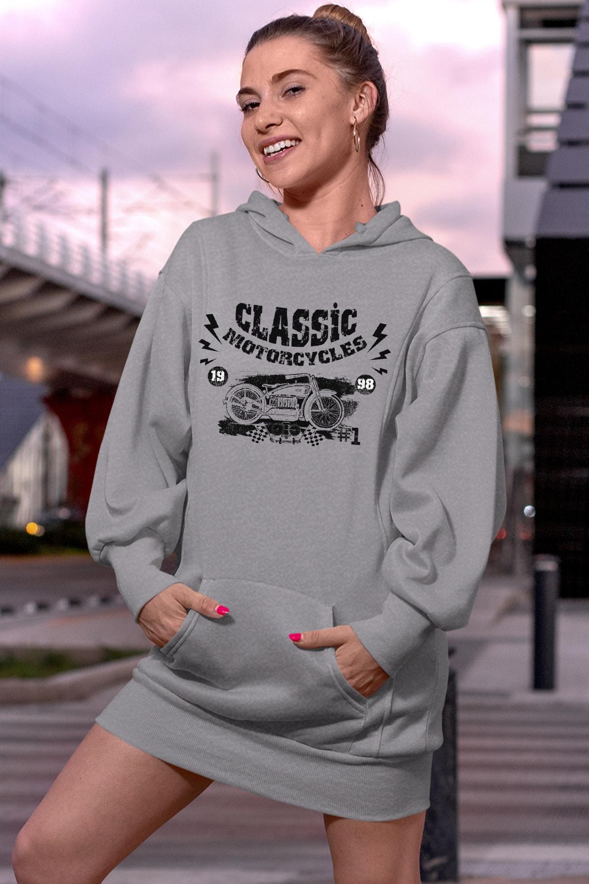 Wear Motorcycles Gri Elbise Sweatshirt Tunik