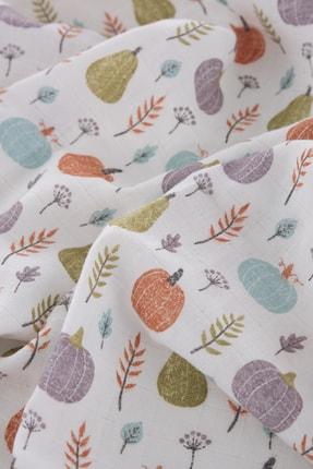 Caline Baby Müslin Bezi Örtü Bal Kabağı Desen - Yeşil 120x120 Cm + 4 Adet Ağız Mendili 2