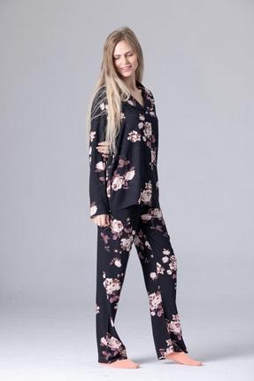 Pijama Denizi Dört Mevsimlik Uzun Kollu Gömlek Yaka Pijama Takımı Siyah Çiçek Dokuma 0