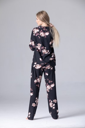 Pijama Denizi Dört Mevsimlik Uzun Kollu Gömlek Yaka Pijama Takımı Siyah Çiçek Dokuma 1