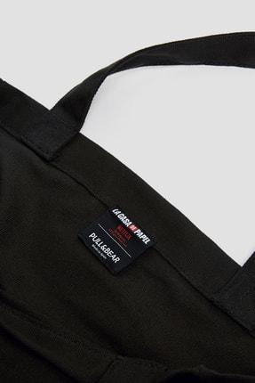 Pull & Bear Kadın Siyah Siyah La Casa De Papel X Pull&Bear Sloganlı Tote Çanta 14158540 2