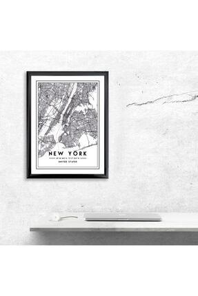MAPFA Çerçeveli New York Harita Poster Siyah-Çizgisel 0