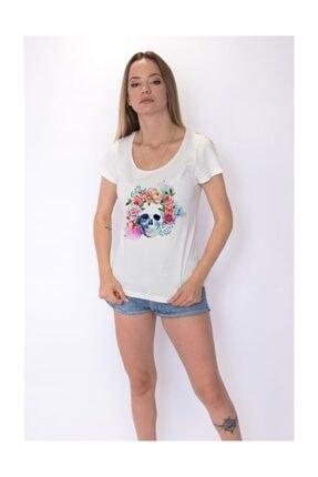 Angemiel Wear Çiçekli Kurukafa Pamuklu Beyaz Kadın Tişört 1