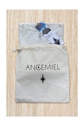 Angemiel Wear Çiçekli Kurukafa Pamuklu Beyaz Kadın Tişört 3