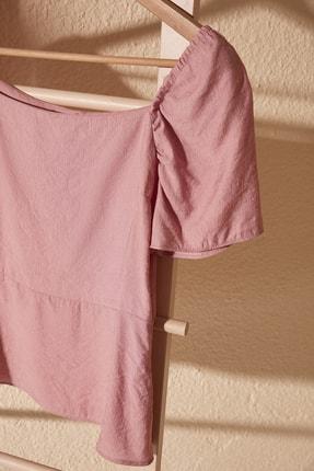 TRENDYOLMİLLA Gül Kurusu Büzgü Detaylı Bluz TWOSS20BZ0858 1
