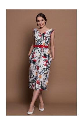 Ekru Çiçek Desenli Elbise ST34
