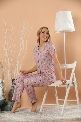 Strawberry Kadın Desenli Düğmeli Pijama Takım 0