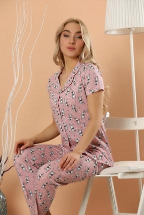 Strawberry Kadın Desenli Düğmeli Pijama Takım 1