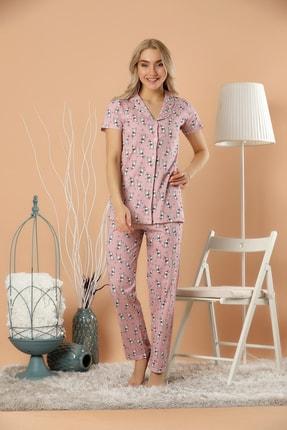 Strawberry Kadın Desenli Düğmeli Pijama Takım 2
