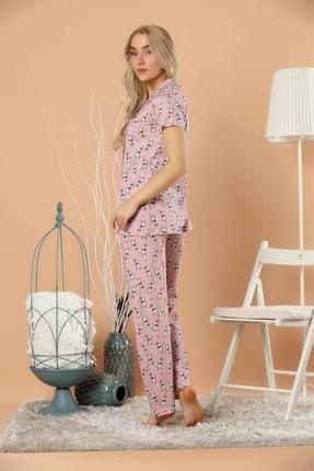 Strawberry Kadın Desenli Düğmeli Pijama Takım 3