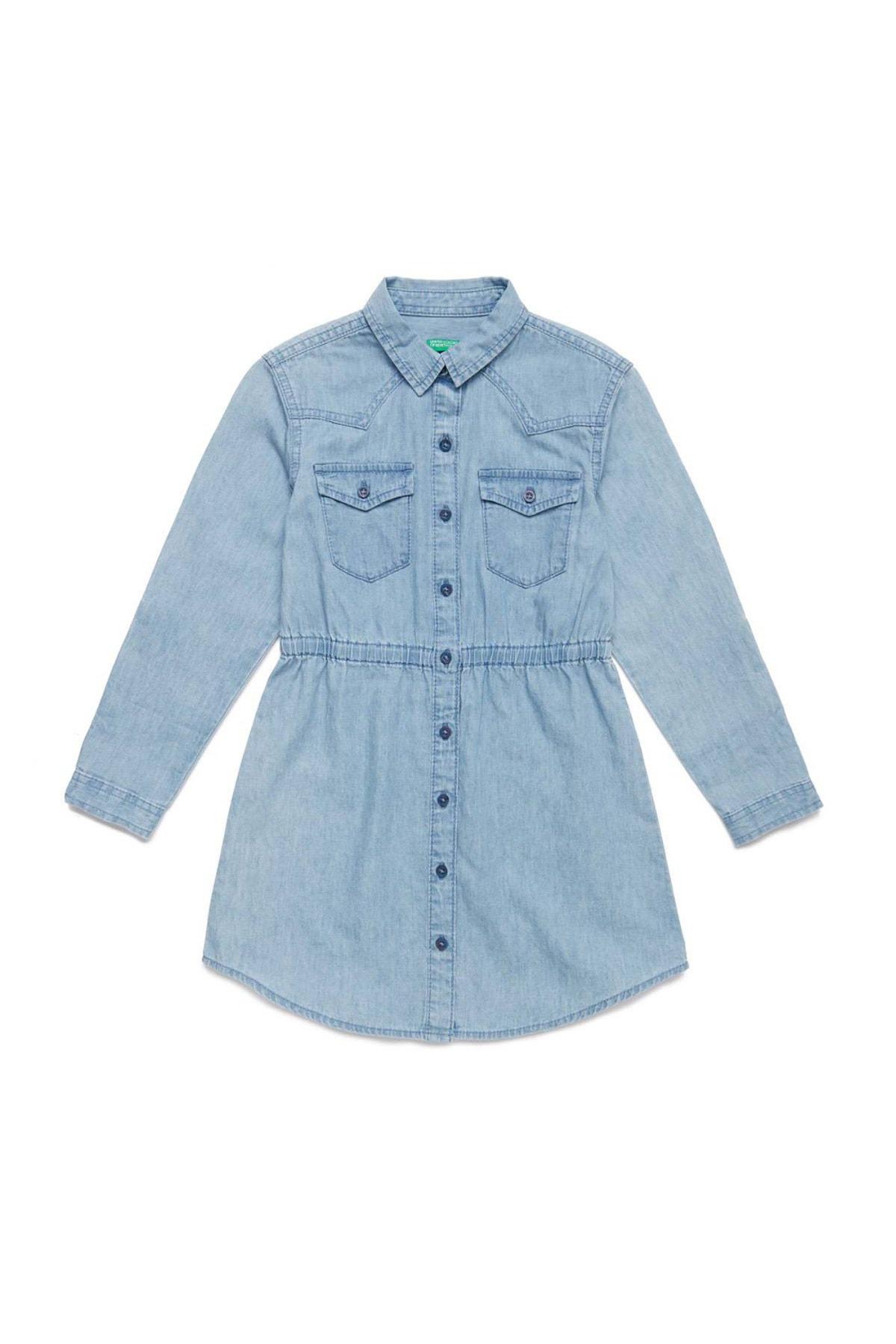 Açık Denim Çocuk Jean Gömlek Elbise