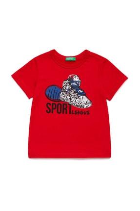 Benetton Kırmızı Çocuk Şapka Ayakkabı Baskılı Tshirt 0