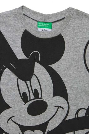 Benetton Gri Melanj Çocuk Mickey Mouse Tshirt 1
