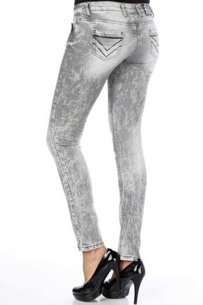 Cipo&Baxx C46006 Içiçe Cep Detaylı Gri Bayan Dar Kot Pantolon 2