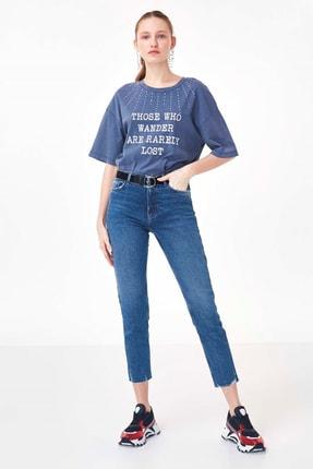 Twist Kadın Mavi Slogan Baskılı Tshirt TS1200070214089 1