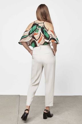 İpekyol Kadın Taş Yüksek Bel Pilili Pantolon IW6190003144030 4