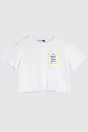 TRENDYOLMİLLA Beyaz Baskılı Crop Kalıp Örme T-Shirt TWOSS20TS1271 4