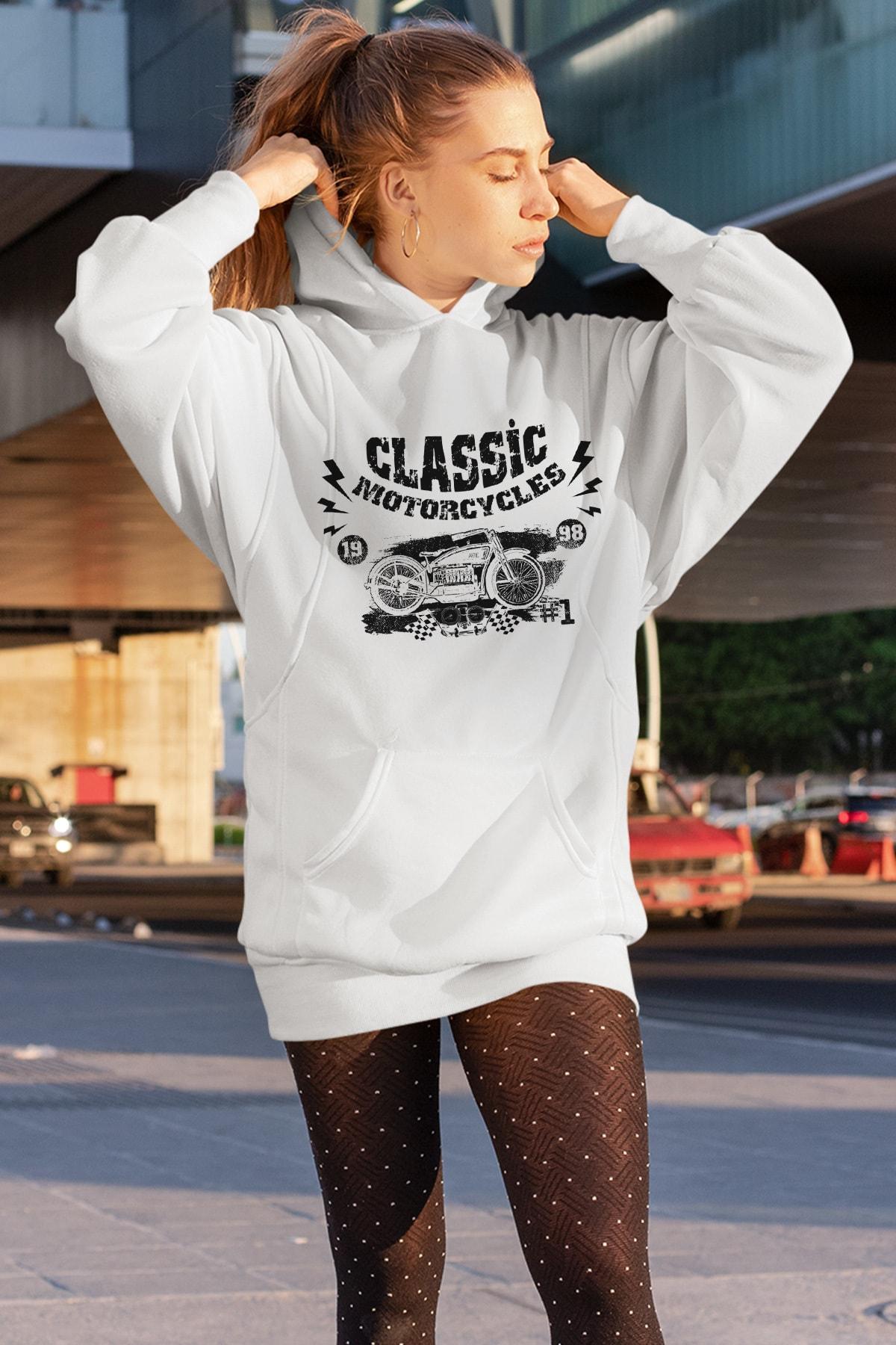Wear Motorcycles Beyaz Elbise Sweatshirt Tunik