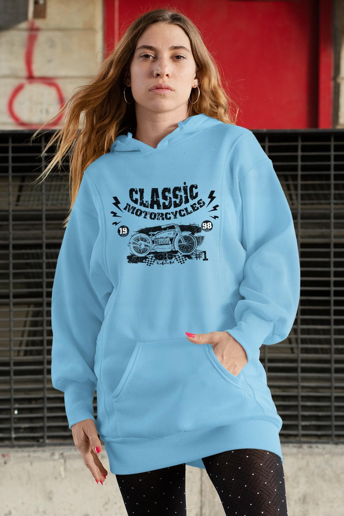 Wear Motorcycles Mavi Elbise Sweatshirt Tunik