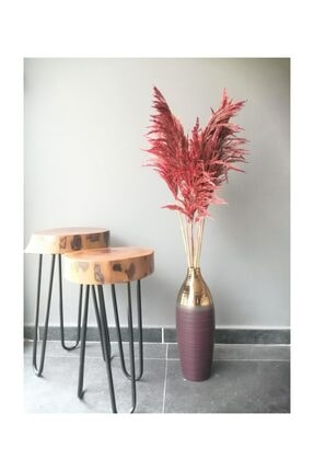 Kuru Çiçek Deposu Gerçek Kuru Çiçek Dökülmeyen Büyük Kırmızı Pampas Demeti 100 Cm 7 Adet 0