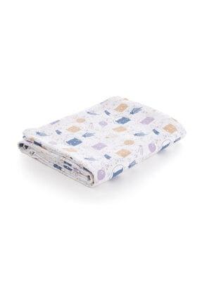 Caline Baby Müslin Bezi Örtü Kedi Desen - Mavi 120x120 Cm + 4 Adet Ağız Mendili 0