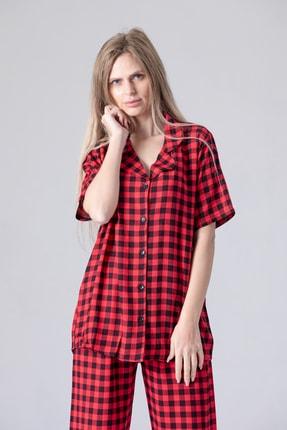 Pijama Denizi Kadın Kısa Kollu Gömlek Yaka Pijama Takımı Kare Ekose Dokuma 0