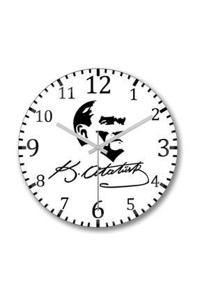 Baskı Dükkanı Atatürk Duvar Saati Bombeli Gercek Cam 0