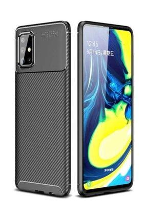 Dijimedia Samsung Galaxy A71 Kılıf Karbon Fiber Dizayn Negro Silikon Kapak - Siyah 0