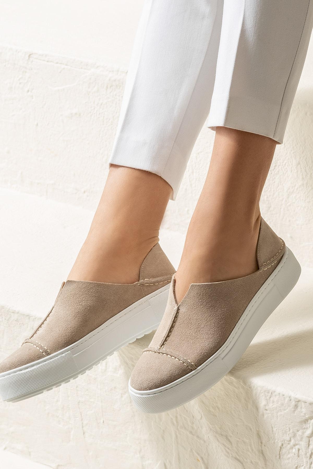 CARINA-1 Hakiki Deri Bej Kadın Casual Ayakkabı