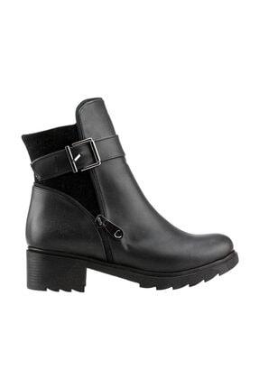 Ayakland Siyah Günlük 4cm Topuk Fermuarlı Bayan Cilt Bot Ayakkabı 3883-823 0
