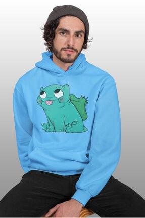 Angemiel Erkek Mavi Balbazar Pokemon Kapüşonlu Sweatshirt 0