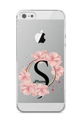 wowicase Apple Iphone 5 Telefon Kılıfı Pembe Çiçekli Harf Tasarımlı - Ş Harfi 0