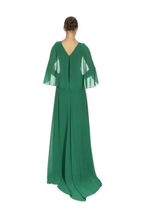 Maxra Govana 5273517 V Yaka Yarasa Kollu Uzun Şifon Elbise 3