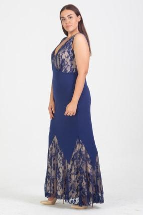 Şans Kadın Saks Dantel Detaylı Uzun Abiye Elbise 65N15634 1