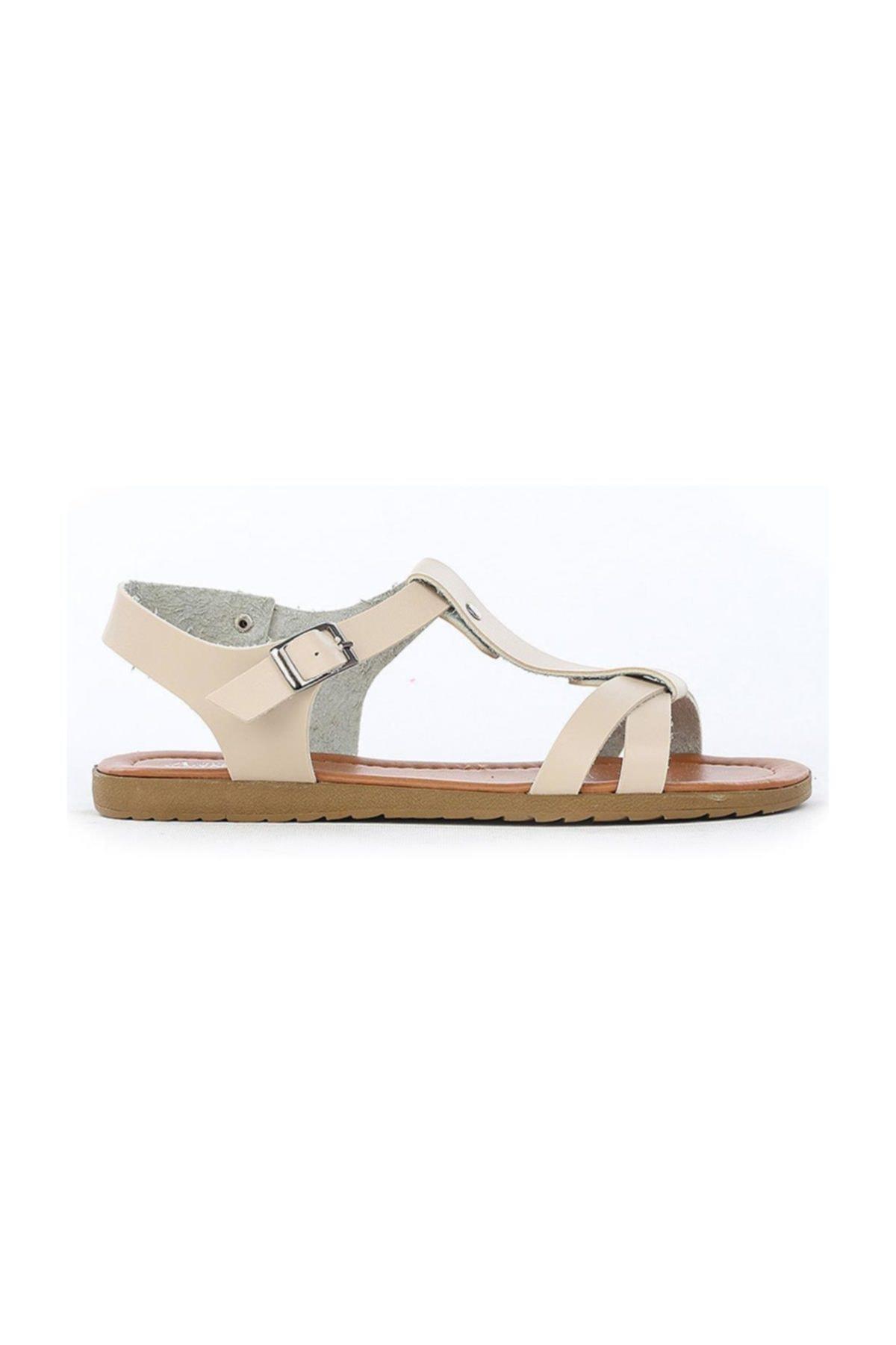 Annamaria Düz Taban Bej Kadın Sandalet