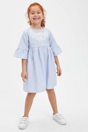 Picture of Baskılı Fırfır Detaylı Kısa Kollu Elbise