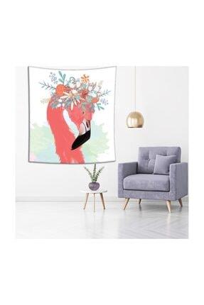 Henge Home Sulu Boya Etkili Pelikan Çiçek Deseni Duvar Örtüsü 3